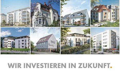 Verschiedene Immobilien mit Schriftzug: Wir investieren in Zukunft.