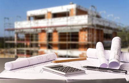 Baustelle und Baupläne